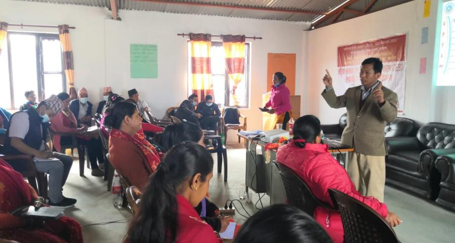 Photo of GESI mainstream orientation to the representatives/ staffs and other stakeholders of Madi Rural Municipality, Gandaki Province