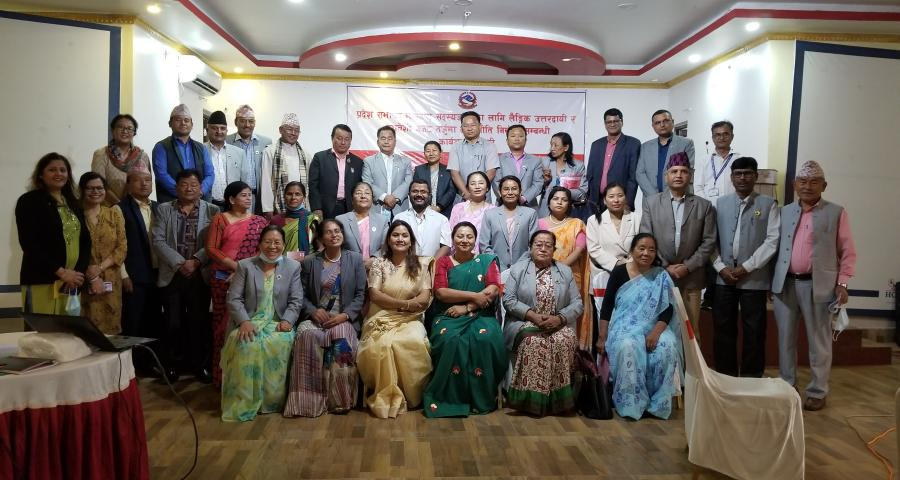 Group Photo of Workshop on Gender responsive and inclusive budgeting and Policy making workshop conducted for Provincial Assembly Members of Province 1